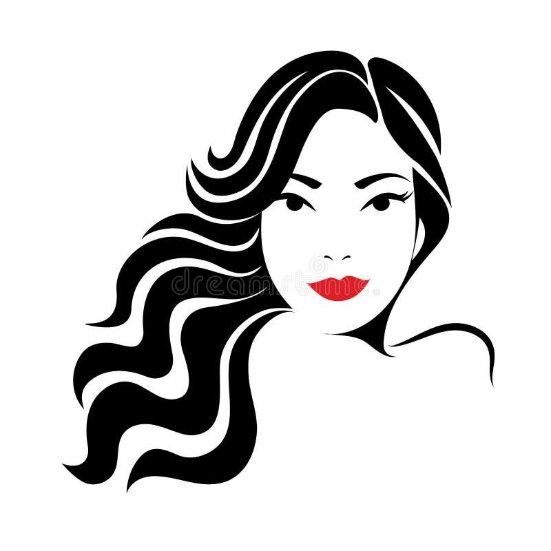 Icono femenino Silueta de la mujer con el pelo rizado Logotipo para los salones de belleza ilustración del vector