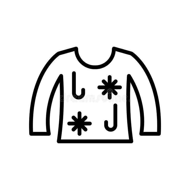 icono feo del suéter de la Navidad aislado en el fondo blanco stock de ilustración