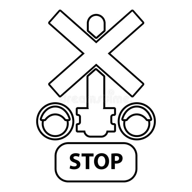 Icono ferroviario de la parada del semáforo, estilo del esquema libre illustration