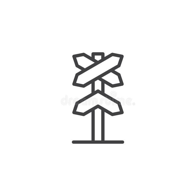 Icono ferroviario del esquema del roadsign stock de ilustración