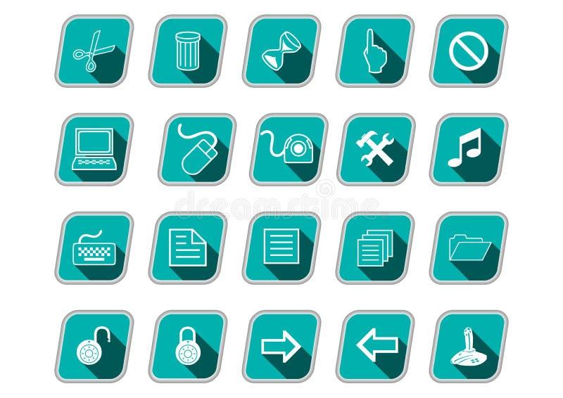 Icono fijado con los símbolos del ordenador, iconos oblicuos verdes, sombra larga, pictogramas blancos stock de ilustración