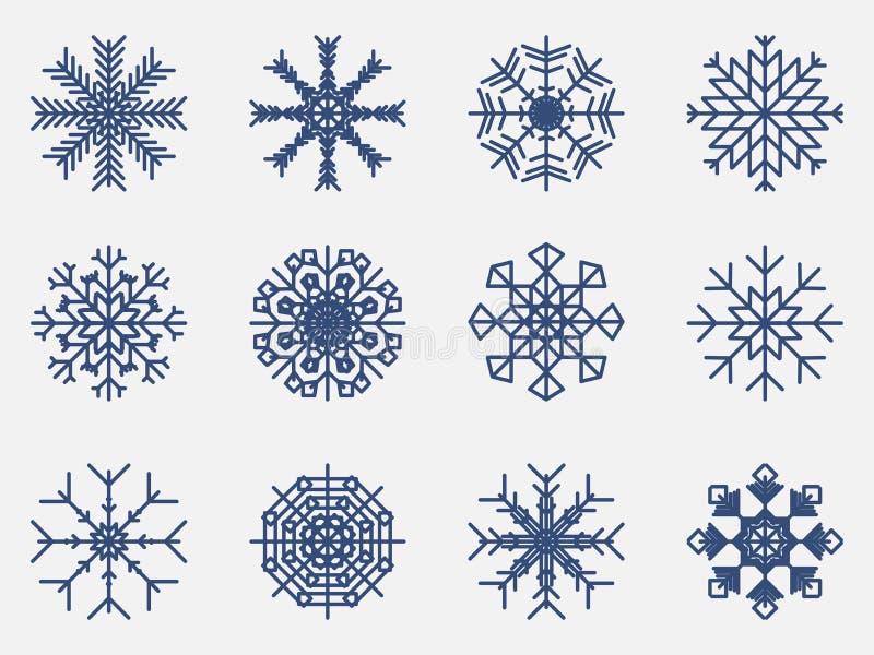Icono fijado copos de nieve aislado en el fondo blanco Vector ilustración del vector