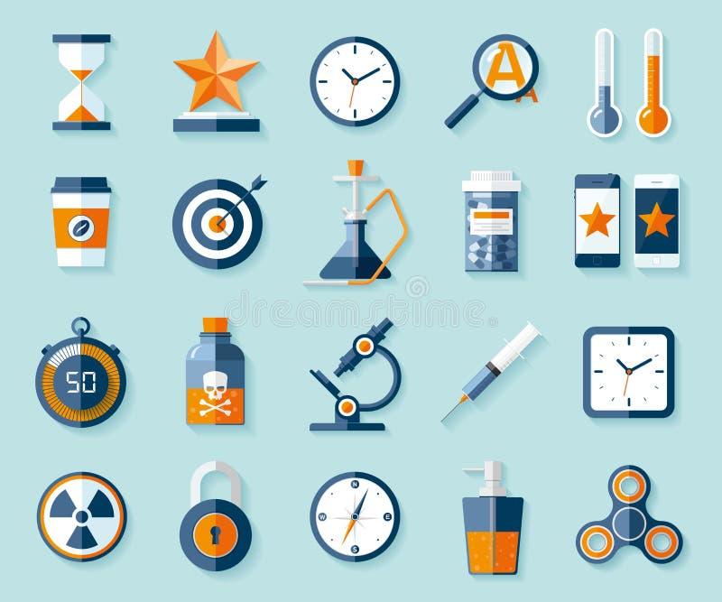 Icono fijado en estilo plano Veinte diversos objetos en fondo del color Elementos del diseño del vector para usted proyectos del  ilustración del vector