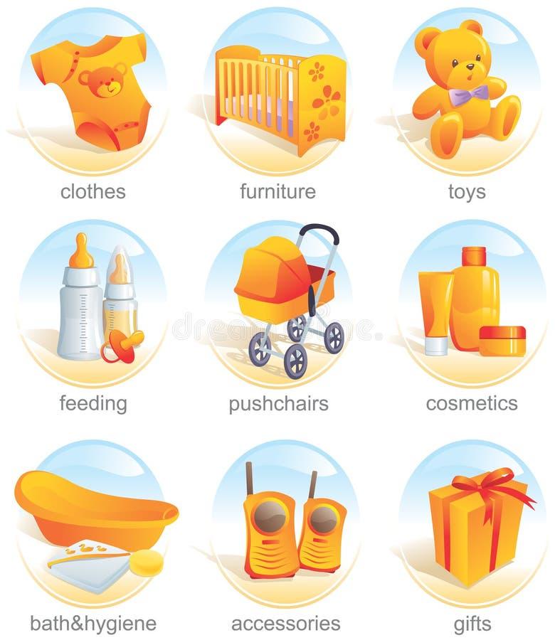 Icono fijado - items del bebé. Aqua stock de ilustración