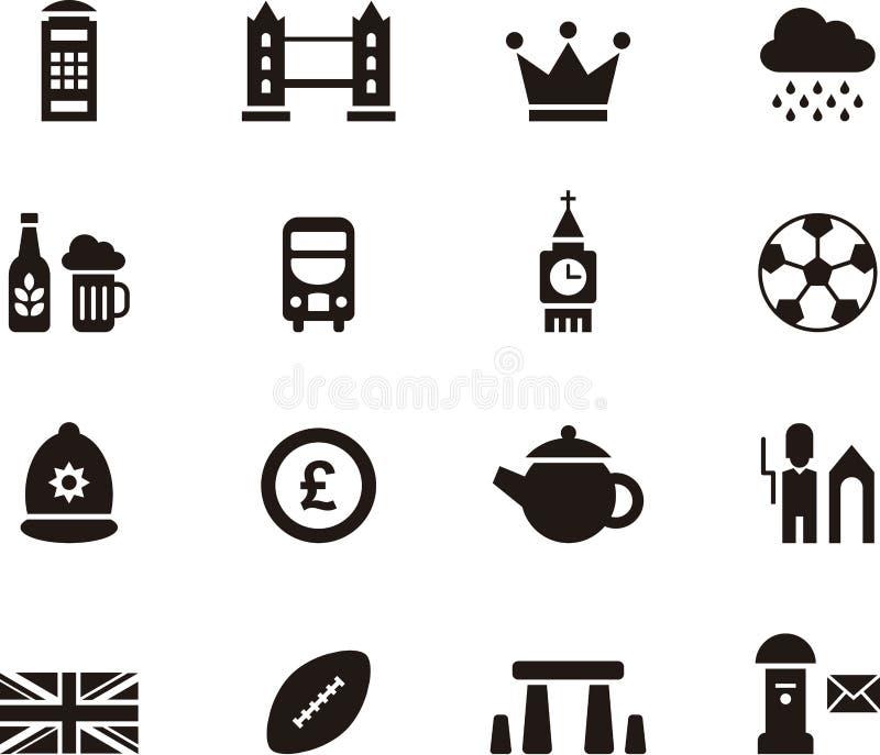 Icono fijado para Londres y Gran Bretaña ilustración del vector