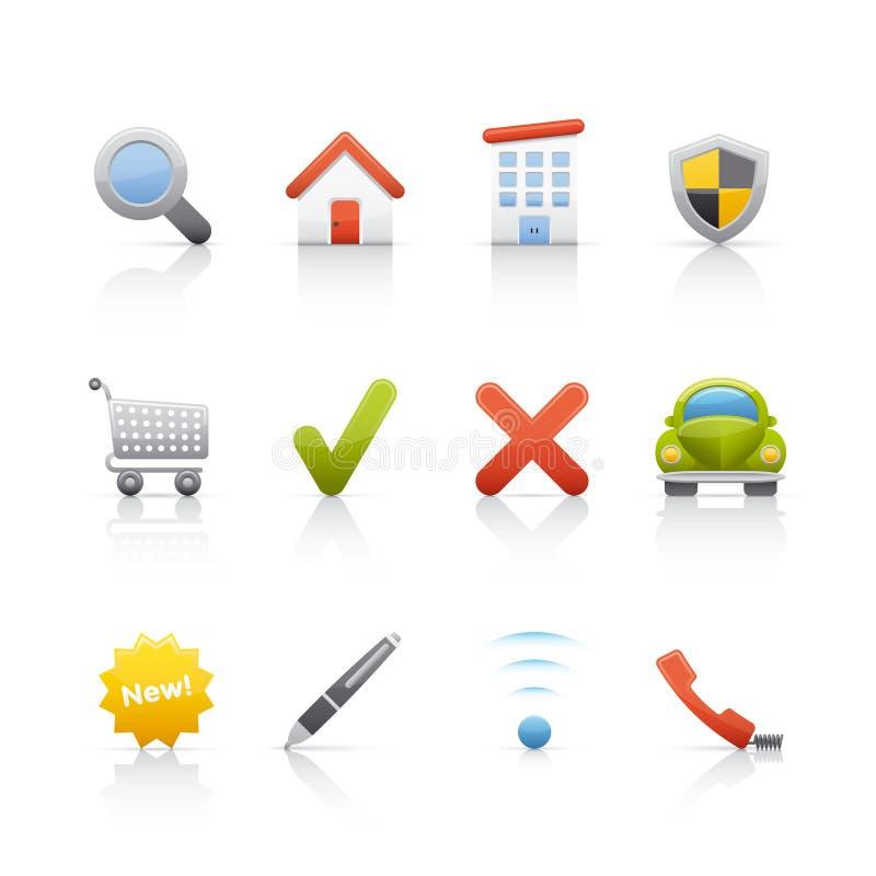 Icono fijado - propiedades inmobiliarias stock de ilustración