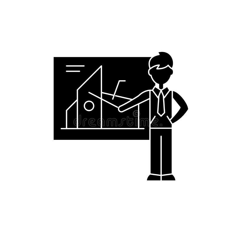 Icono financiero del negro de la presentación, muestra del vector en fondo aislado Símbolo financiero del concepto de la presenta libre illustration