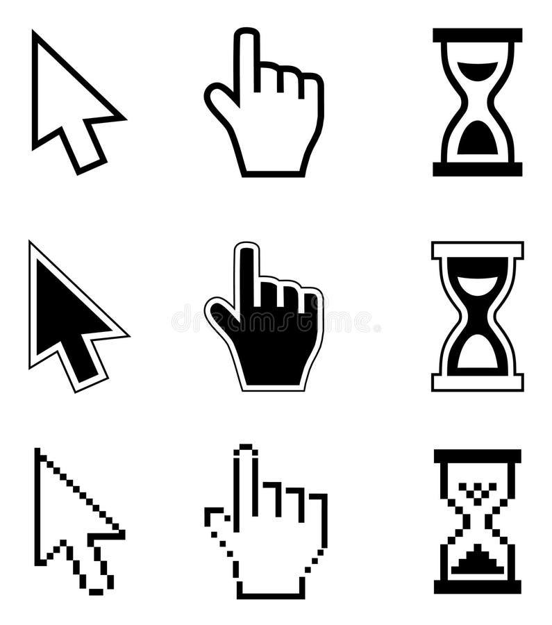 Icono-flecha de los cursores del pixel, reloj de arena, ratón de la mano ilustración del vector
