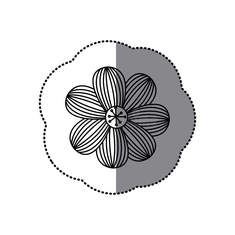 icono floral de la flor rayada de la silueta de la etiqueta engomada ilustración del vector