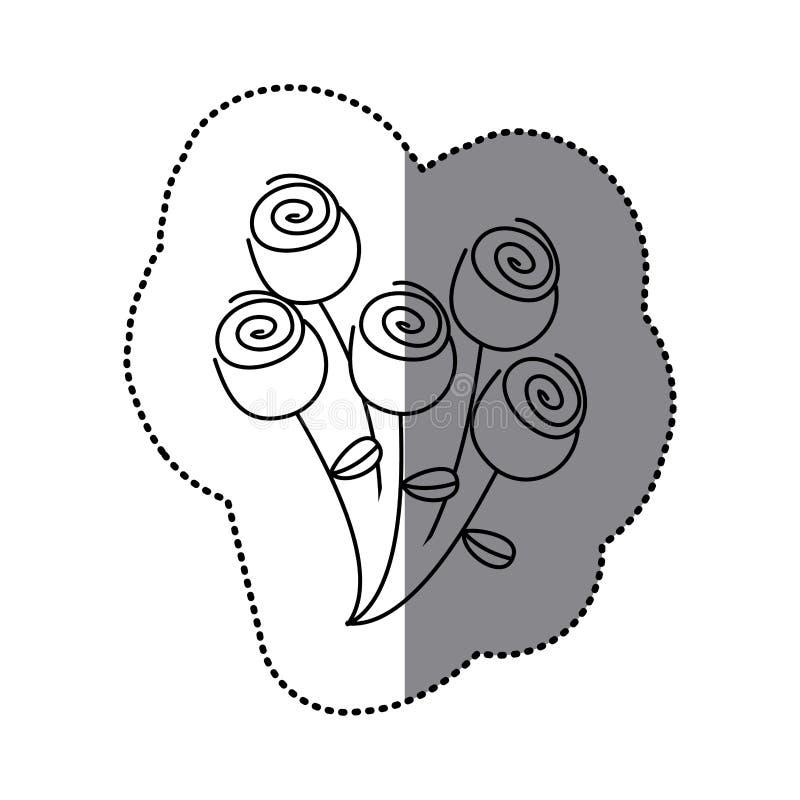 icono floral de las rosas del ramo de la silueta de la etiqueta engomada libre illustration