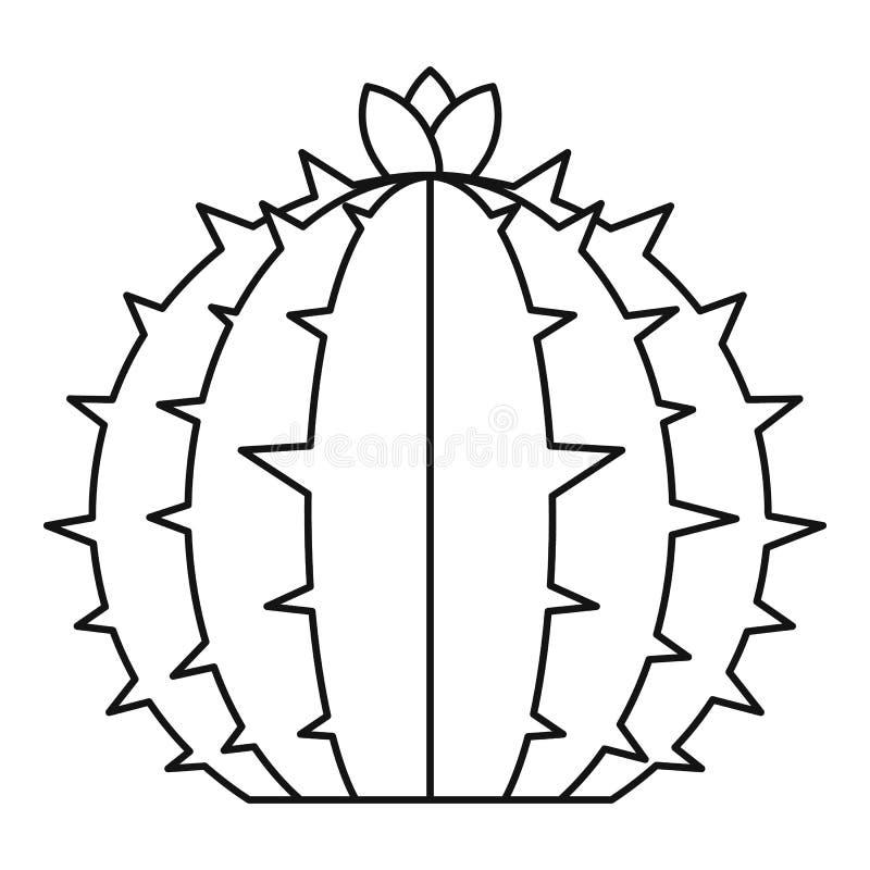 Icono floreciente del cactus, estilo del esquema libre illustration