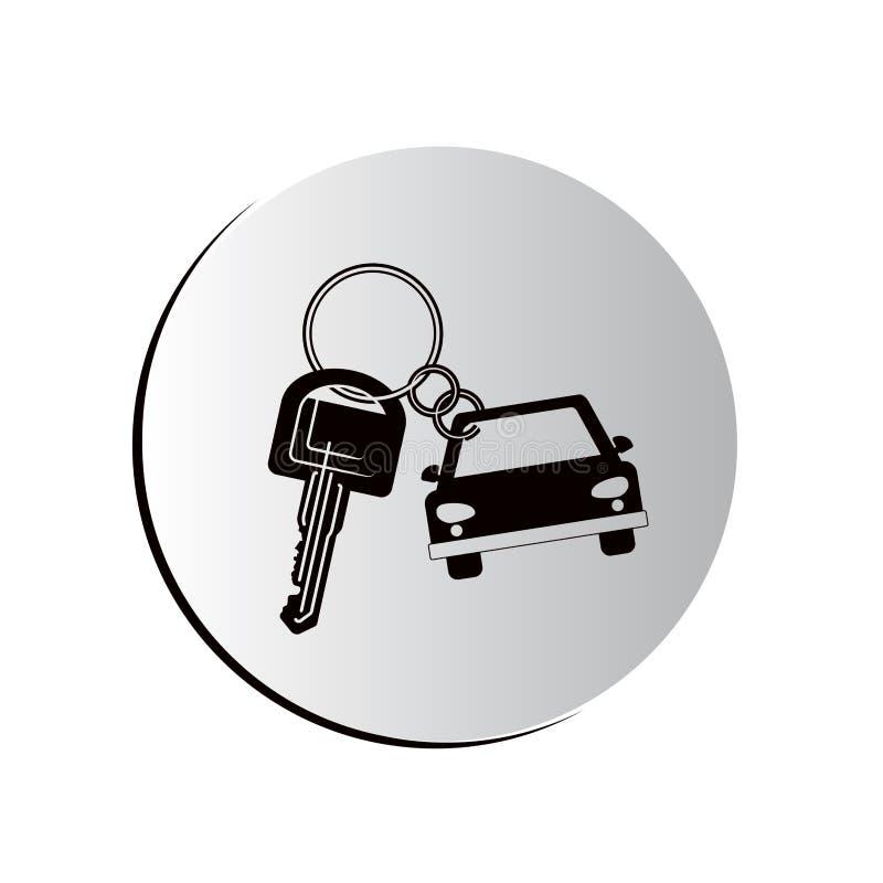 Icono formado coche degradado del llavero del botón stock de ilustración
