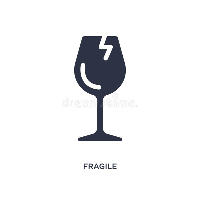icono frágil en el fondo blanco Ejemplo simple del elemento de la entrega y del concepto logístico libre illustration