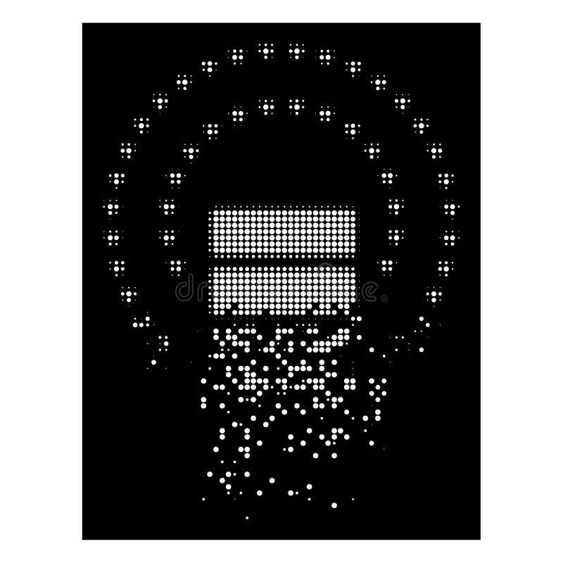 Icono fracturado brillante de Dot Halftone Database Sphere Shield ilustración del vector