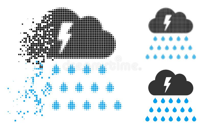Icono fracturado de Dot Halftone Thunderstorm Rain Cloud libre illustration