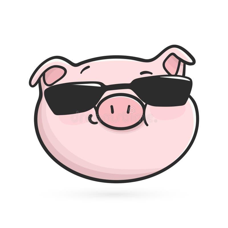 Icono fresco del emoticon Cerdo de Emoji en lentes de sol negros ilustración del vector