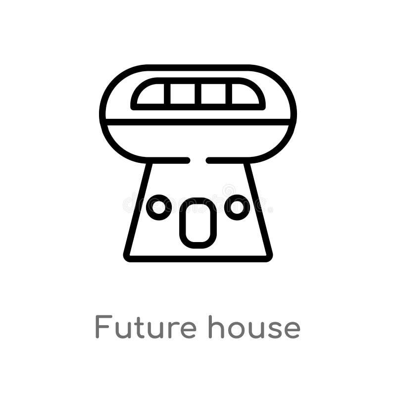 icono futuro del vector de la casa del esquema línea simple negra aislada ejemplo del elemento del concepto de los edificios Movi stock de ilustración