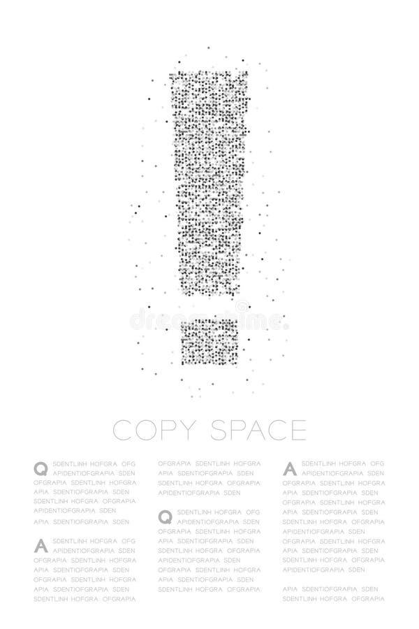 Icono geométrico abstracto de la muestra de la marca de exclamación del modelo del pixel del punto del círculo, ejemplo de color  stock de ilustración