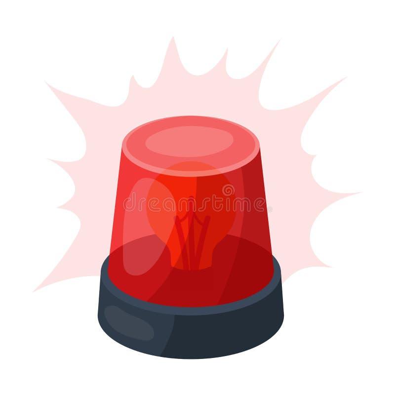 Icono giratorio de la luz de faro de la emergencia en estilo de la historieta aislado en el fondo blanco Símbolo de la policía fotografía de archivo libre de regalías