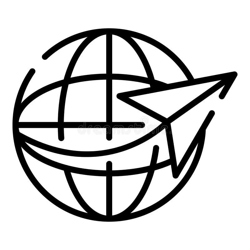 Icono global de la excursión, estilo del esquema stock de ilustración