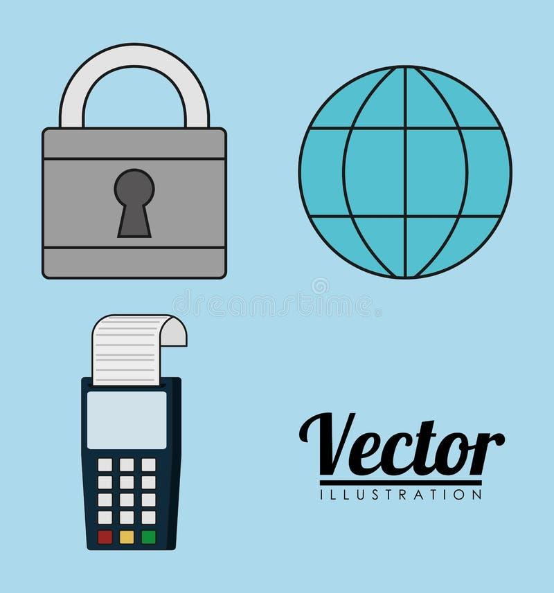 icono global de la factura del dataphone del candado de la esfera Gráfico de vector libre illustration
