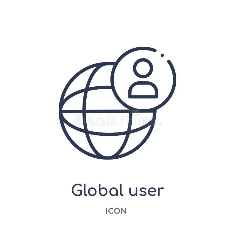 icono global de la interfaz de usuario de la colección del esquema de la interfaz de usuario Línea fina icono global de la interf stock de ilustración
