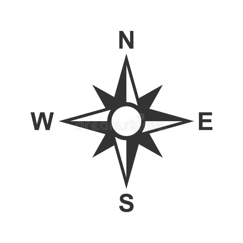 Icono global de la navegación en estilo plano Ejemplo del vector de los gps del compás en el fondo aislado blanco Negocio del des stock de ilustración