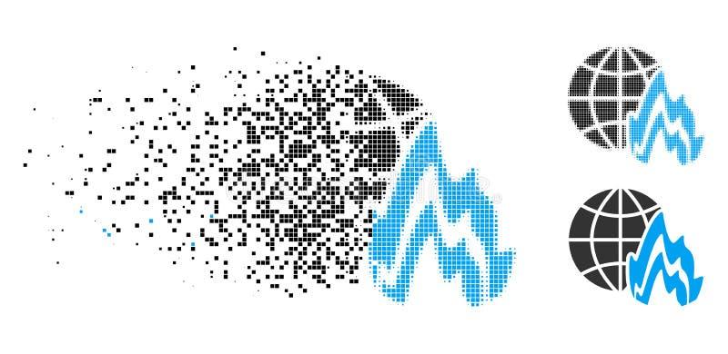 Icono global de semitono del fuego de Pixelated del polvo ilustración del vector