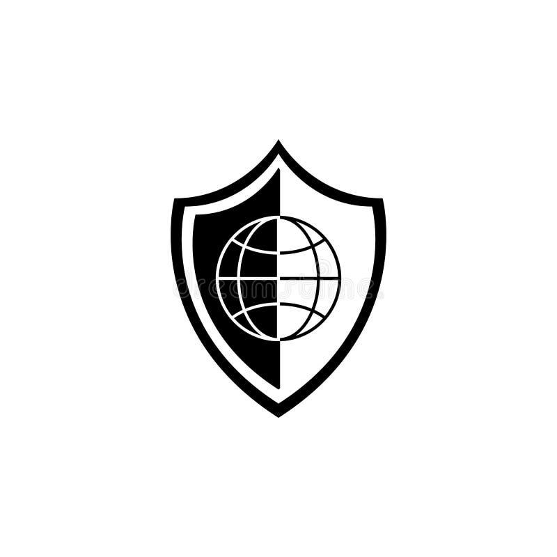 Icono global del escudo Elementos del icono cibernético de la seguridad Diseño gráfico de la calidad superior Muestras, icono de  ilustración del vector