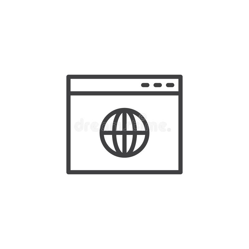 Icono global del esquema de la página del navegador stock de ilustración