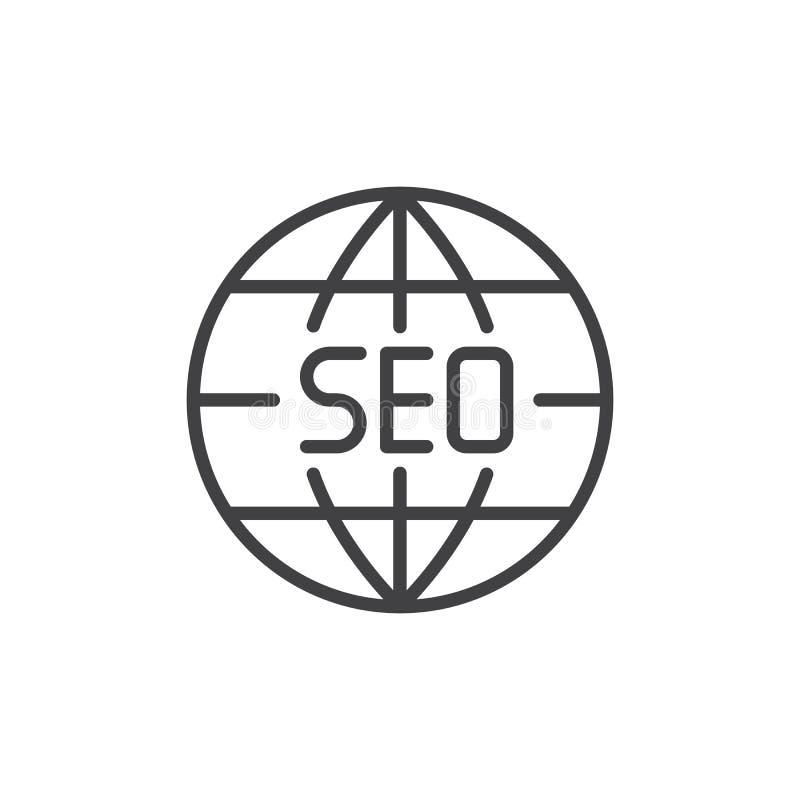 Icono global del esquema del navegador de Seo stock de ilustración