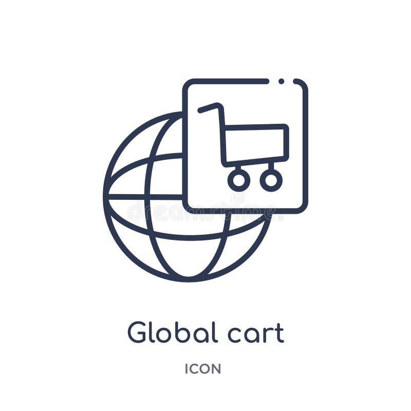 icono global del interfaz del carro de la colección del esquema de la interfaz de usuario Línea fina icono global del interfaz de libre illustration
