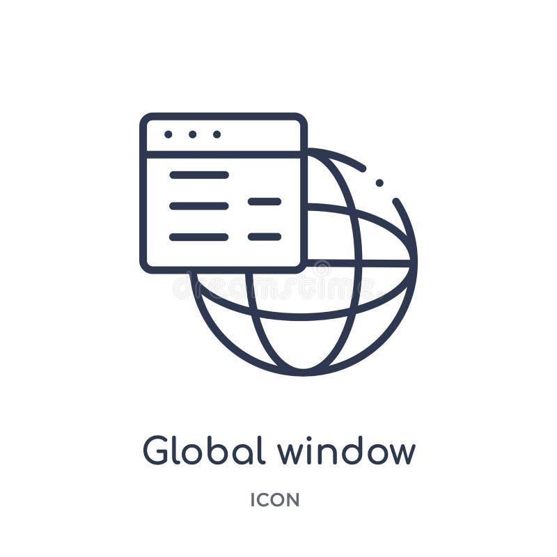 icono global del interfaz de la ventana de la colección del esquema de la interfaz de usuario Línea fina icono global del interfa ilustración del vector