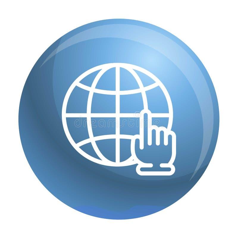 Icono global del tecleo de la mano, estilo del esquema ilustración del vector