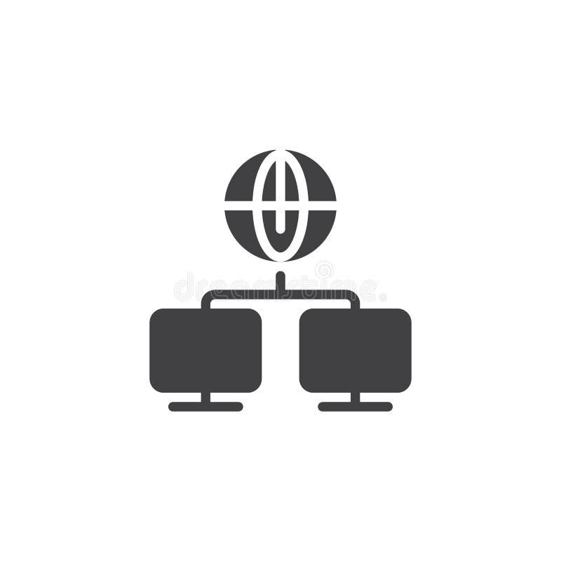 Icono global del vector de la conexión del ordenador stock de ilustración