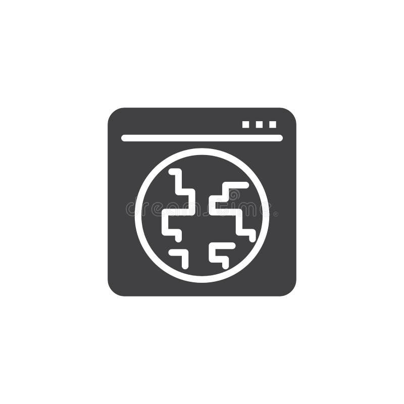 Icono global del vector de la ventana de navegador de Internet ilustración del vector