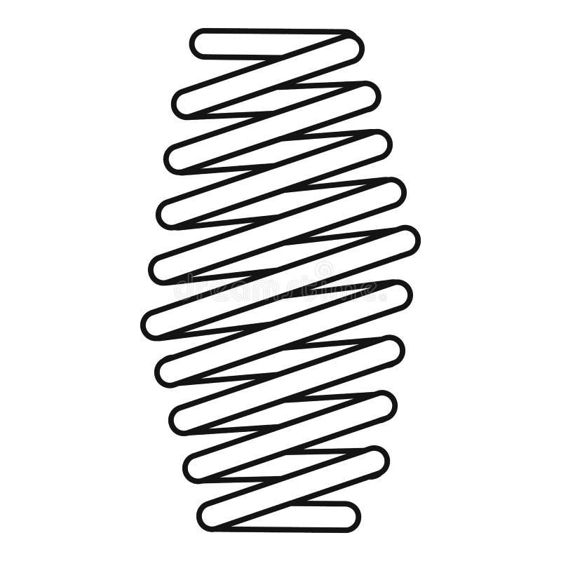 Icono gordo de la bobina de la primavera, estilo del esquema stock de ilustración