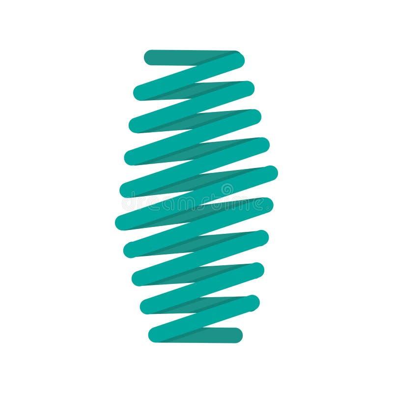Icono gordo de la bobina de la primavera, estilo plano ilustración del vector