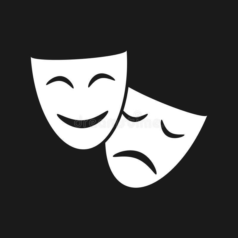 Icono gráfico de las máscaras de teatro ilustración del vector