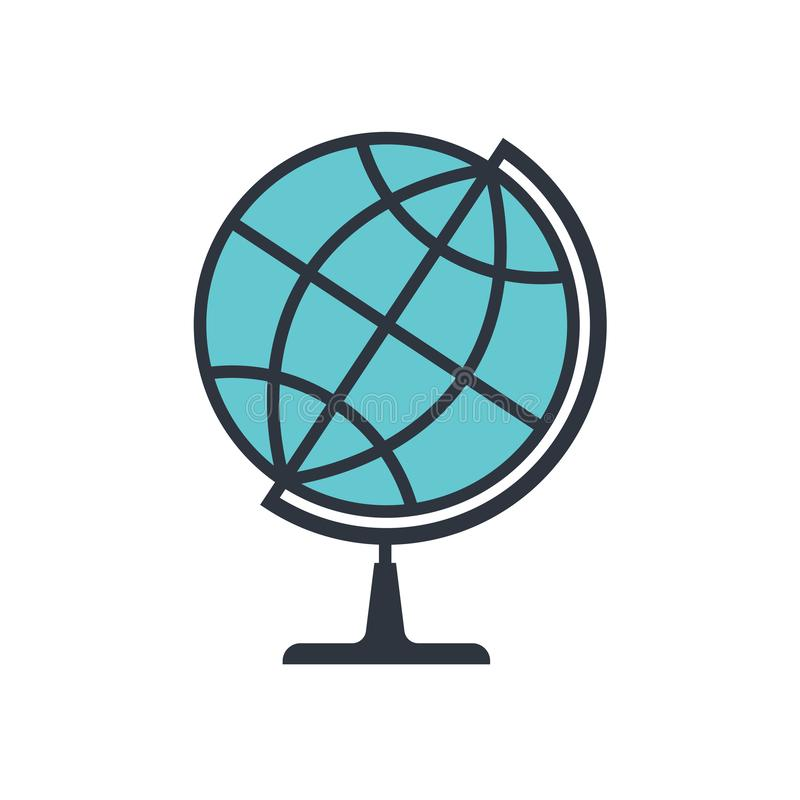 Icono gráfico del globo aislado en el fondo blanco stock de ilustración