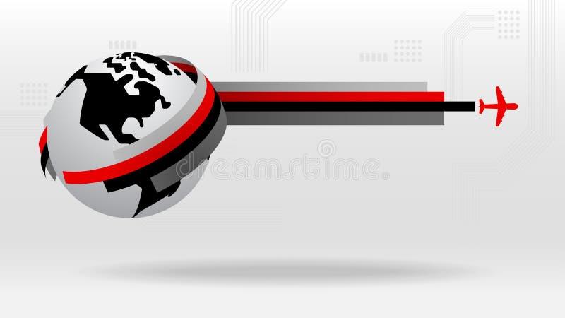 Icono gráfico del viaje de negocios global del worldmap stock de ilustración
