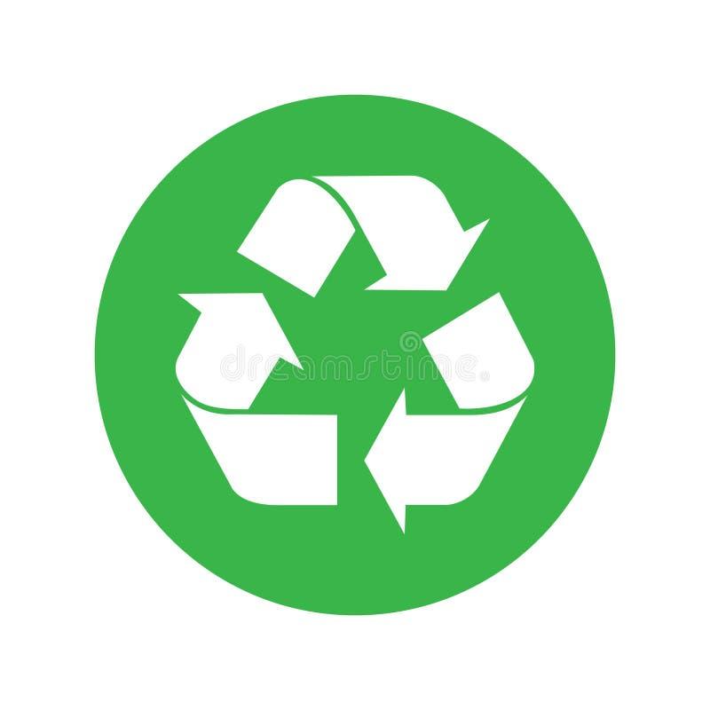 Icono gráfico reciclado en círculo verde stock de ilustración