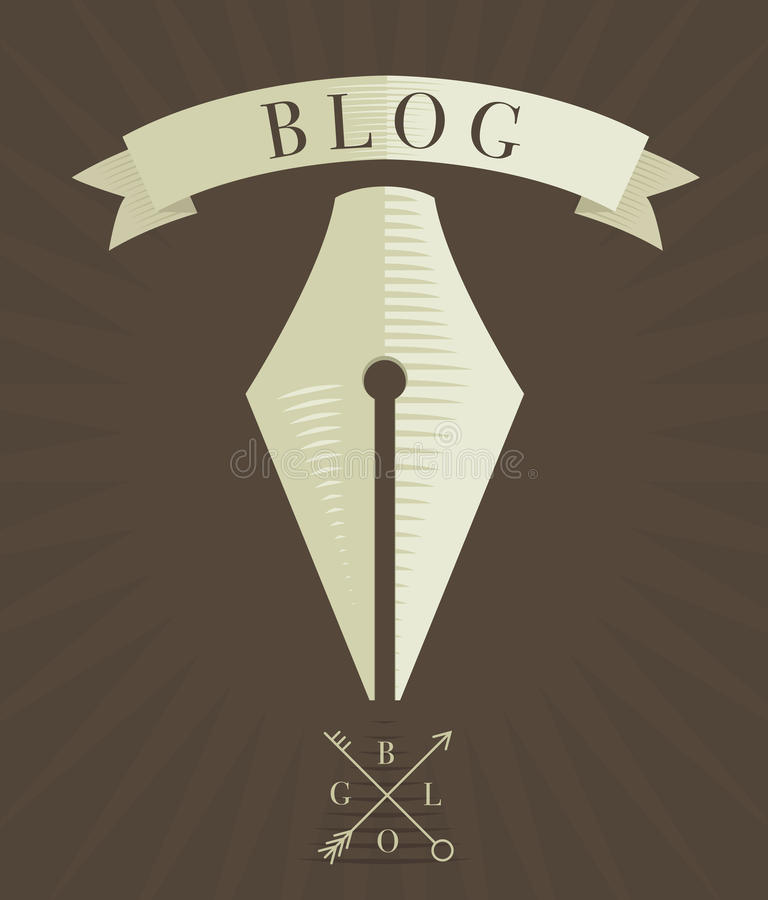 Icono grabado vector de la pluma, concepto del blog libre illustration