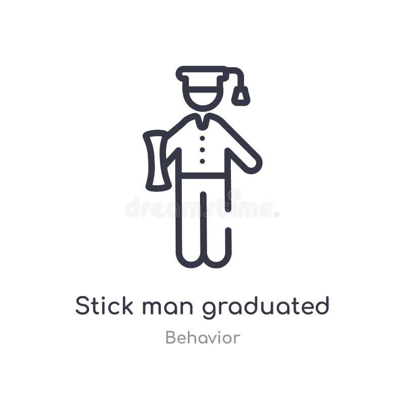 icono graduado del esquema del hombre del palillo l?nea aislada ejemplo del vector de la colecci?n del comportamiento hombre fino libre illustration