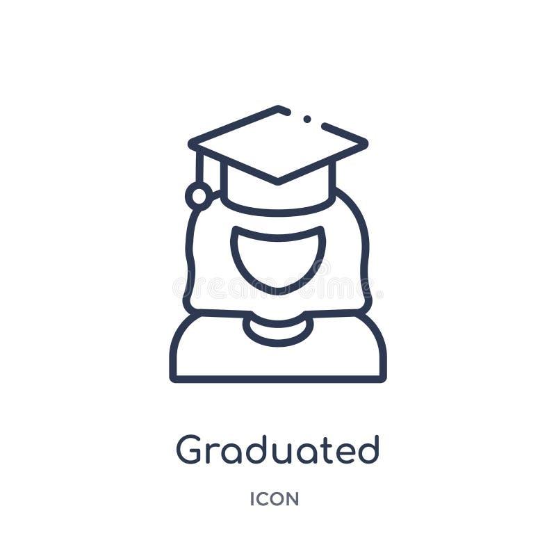 Icono graduado linear de la colección del esquema de la educación La línea fina graduó vector aislada en el fondo blanco de moda  libre illustration