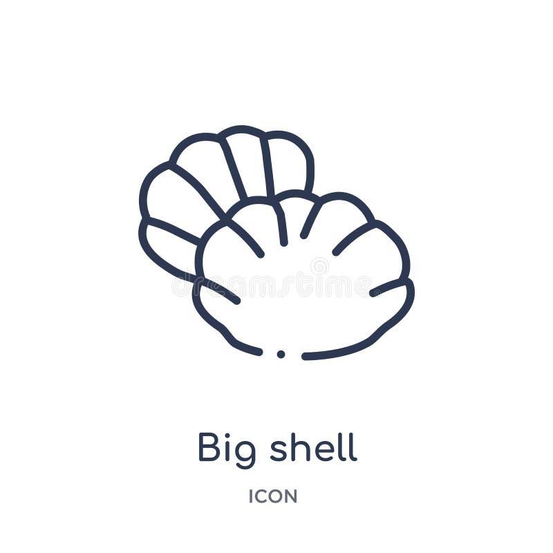 Icono grande de la cáscara de la colección náutica del esquema Línea fina icono grande de la cáscara aislado en el fondo bla stock de ilustración