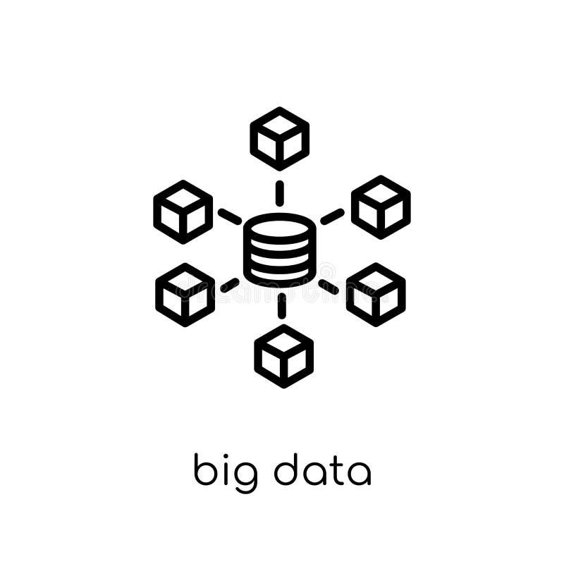 Icono grande de los datos Icono grande de los datos del vector linear plano moderno de moda encendido stock de ilustración