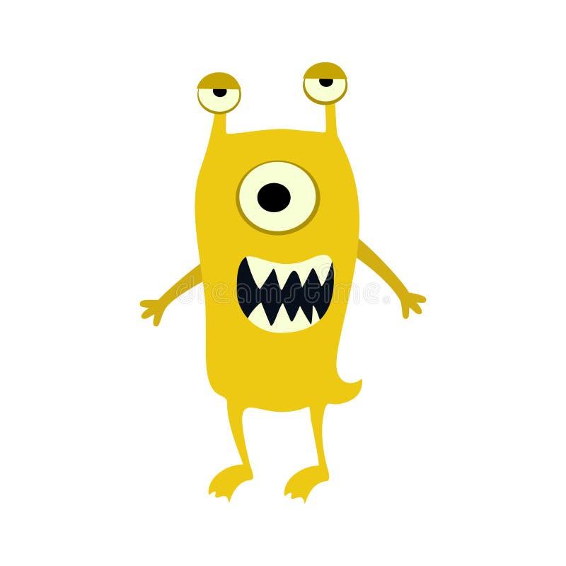 Icono grande de los monstruos planos de la historieta Monstruo lindo del juguete colorido del niño Vector ilustración del vector