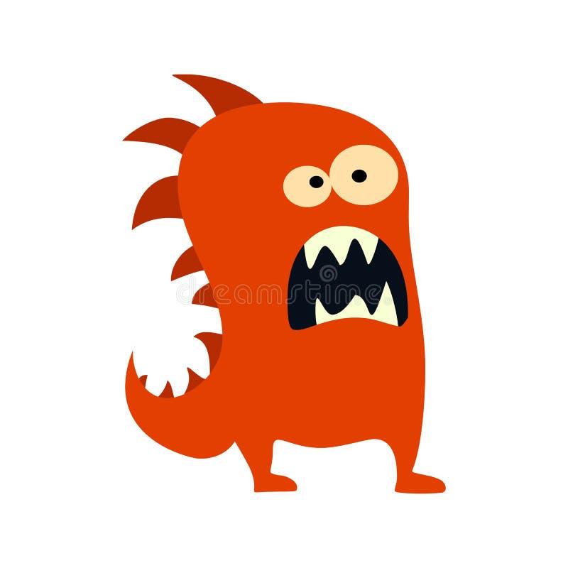 Icono grande de los monstruos planos de la historieta Monstruo lindo del juguete colorido del niño Vector stock de ilustración