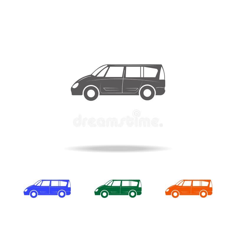 Icono grande del coche del minivan Tipos de elementos de los coches en los iconos coloreados multi para los apps móviles del conc libre illustration